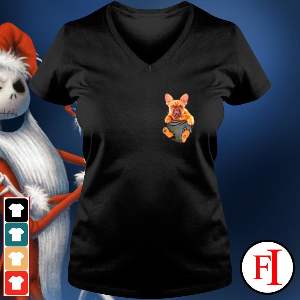 French Bulldog in Pocket s v-neck-t-shirt