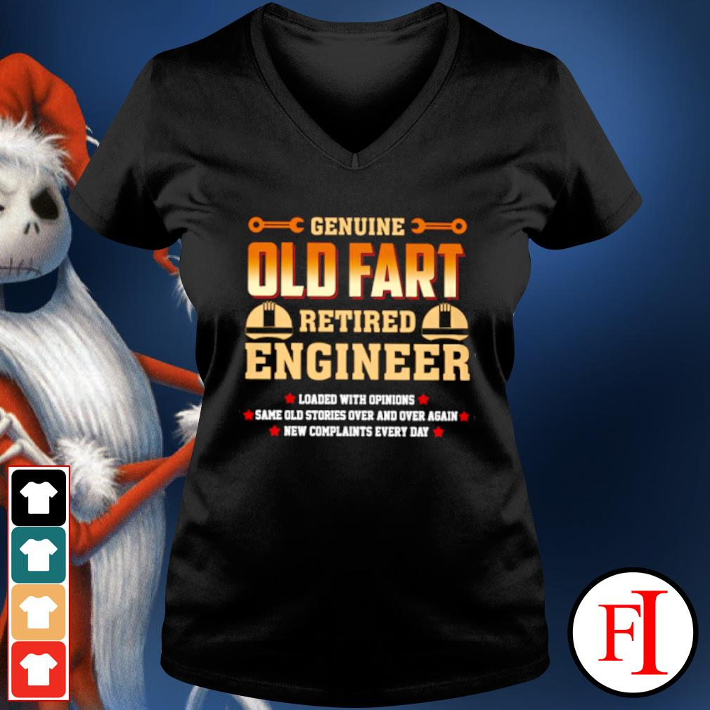 Genuine old fart retired lineman loaded with opinions s v-neck-t-shirt