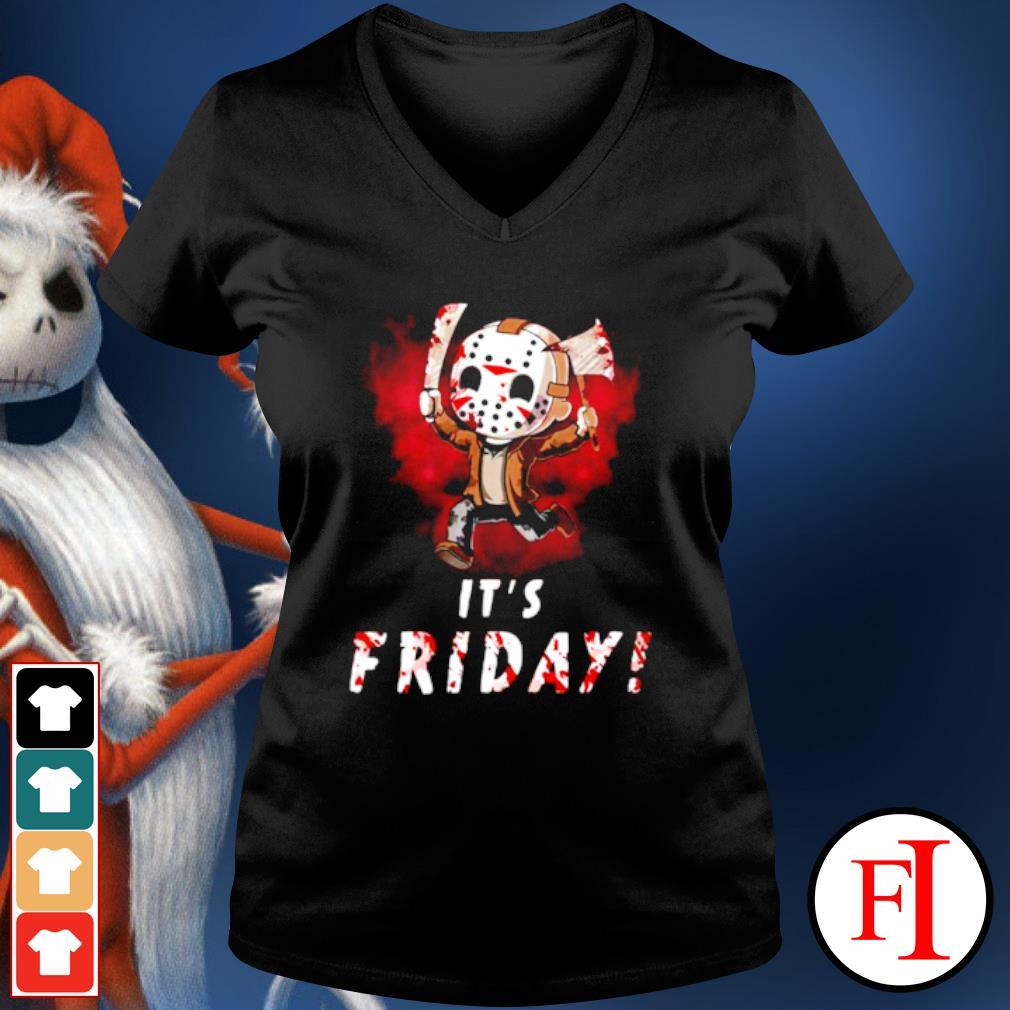 Jason Voorhees chibi It's Friday Halloween s v-neck-t-shirt