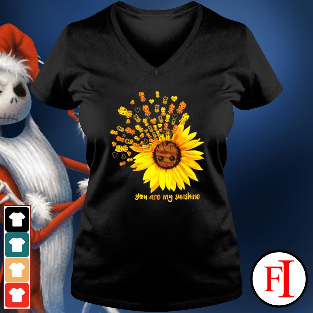 Sunflower Baby Groot you are my sunshine s v-neck-t-shirt
