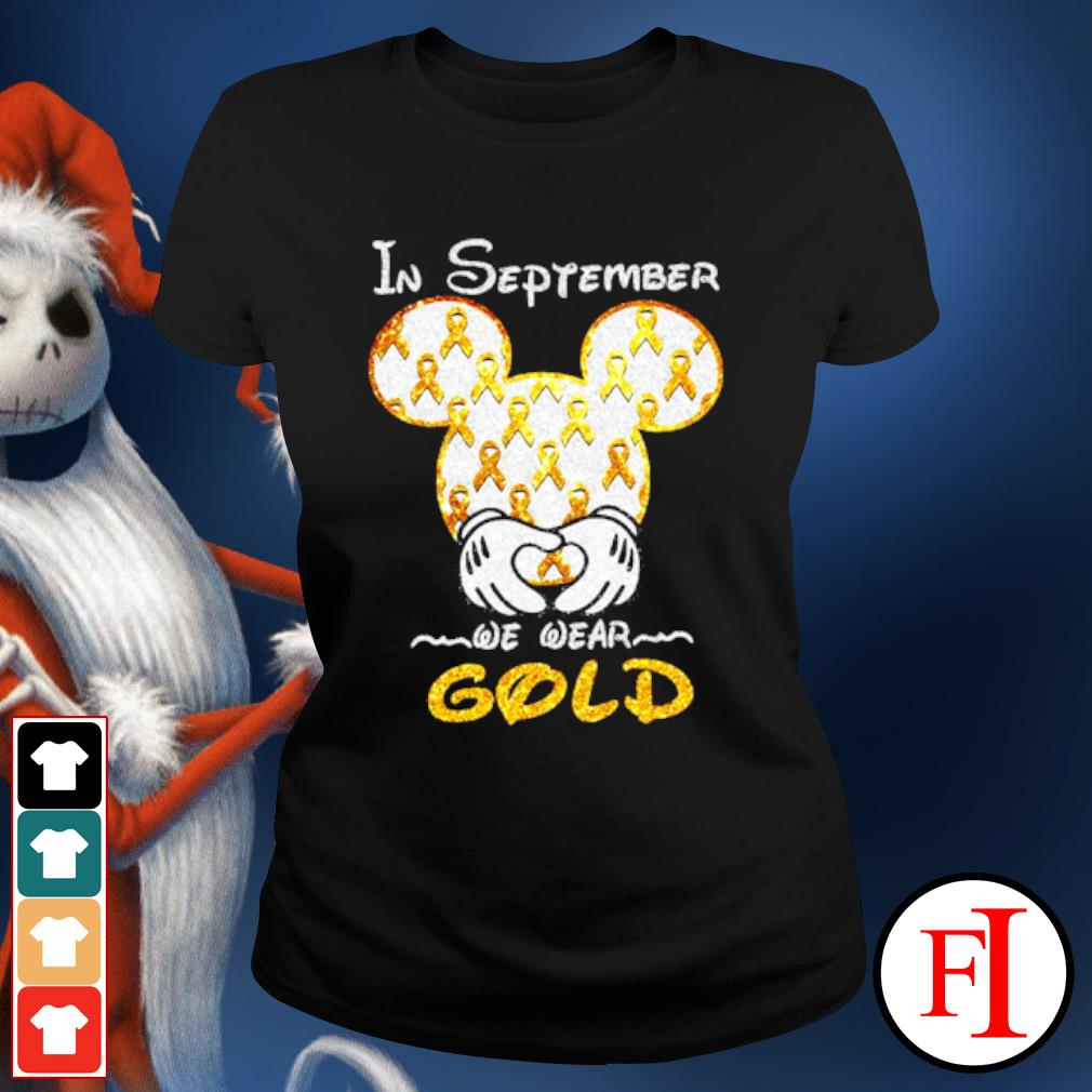 Mickey mouse Childhood Cancer in September we wear gold s ladies-tee