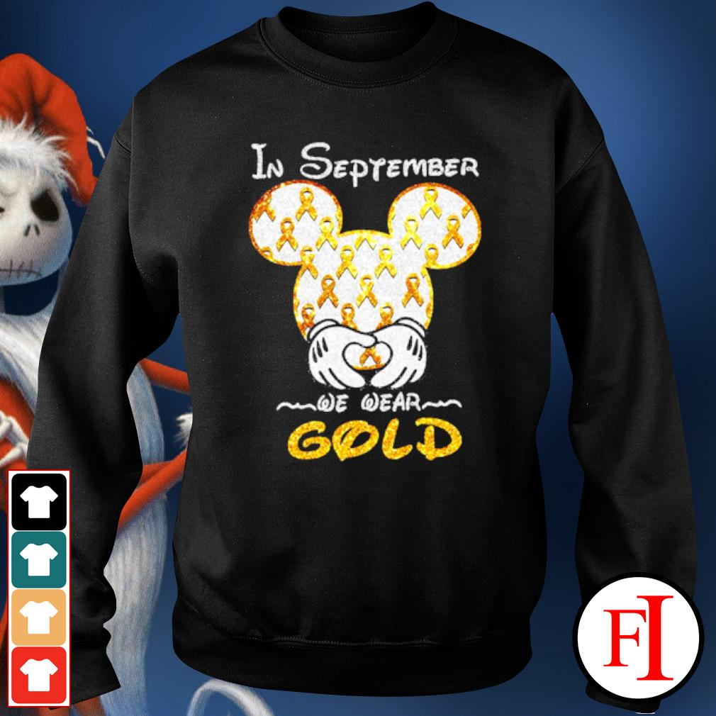 Mickey mouse Childhood Cancer in September we wear gold s sweater