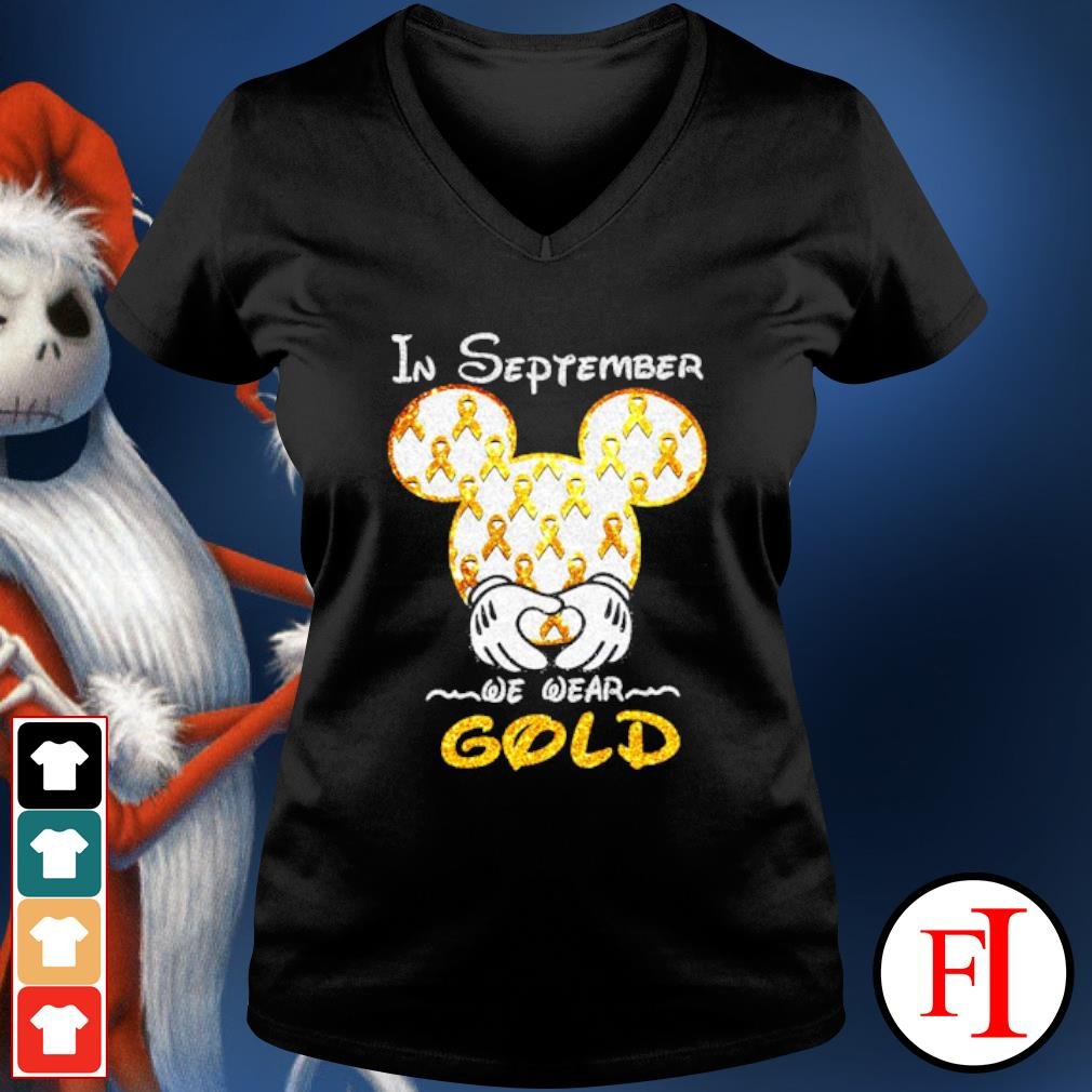 Mickey mouse Childhood Cancer in September we wear gold s v-neck-t-shirt