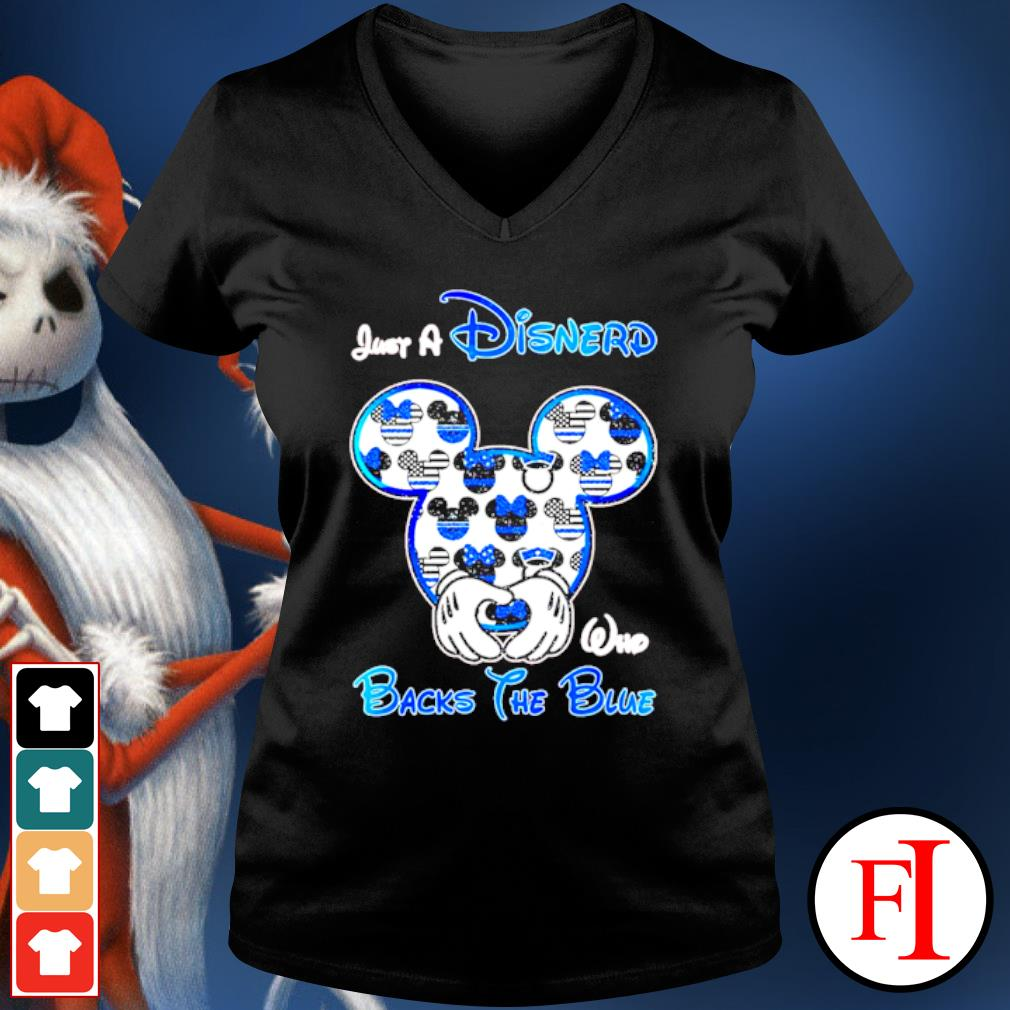Mickey mouse Just a Disnerd who Backs the Blue s v-neck-t-shirt