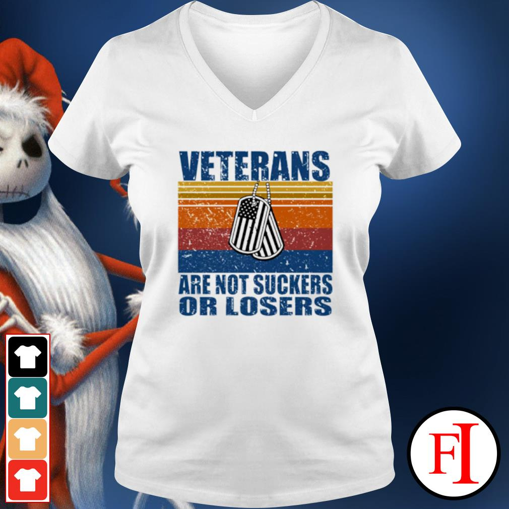 Veterans are not suckers or losers vintage s v-neck-t-shirt