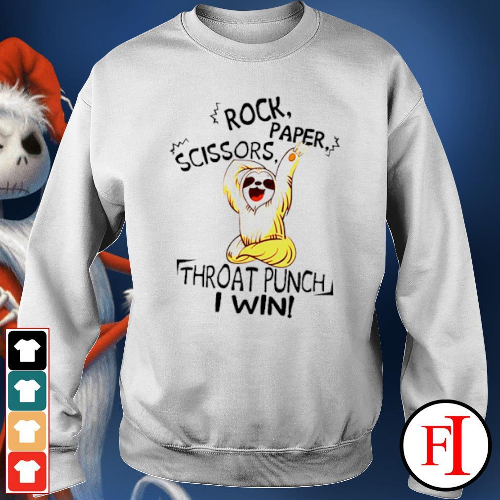 Sloth rock paper scissors throat punch I win s sweater