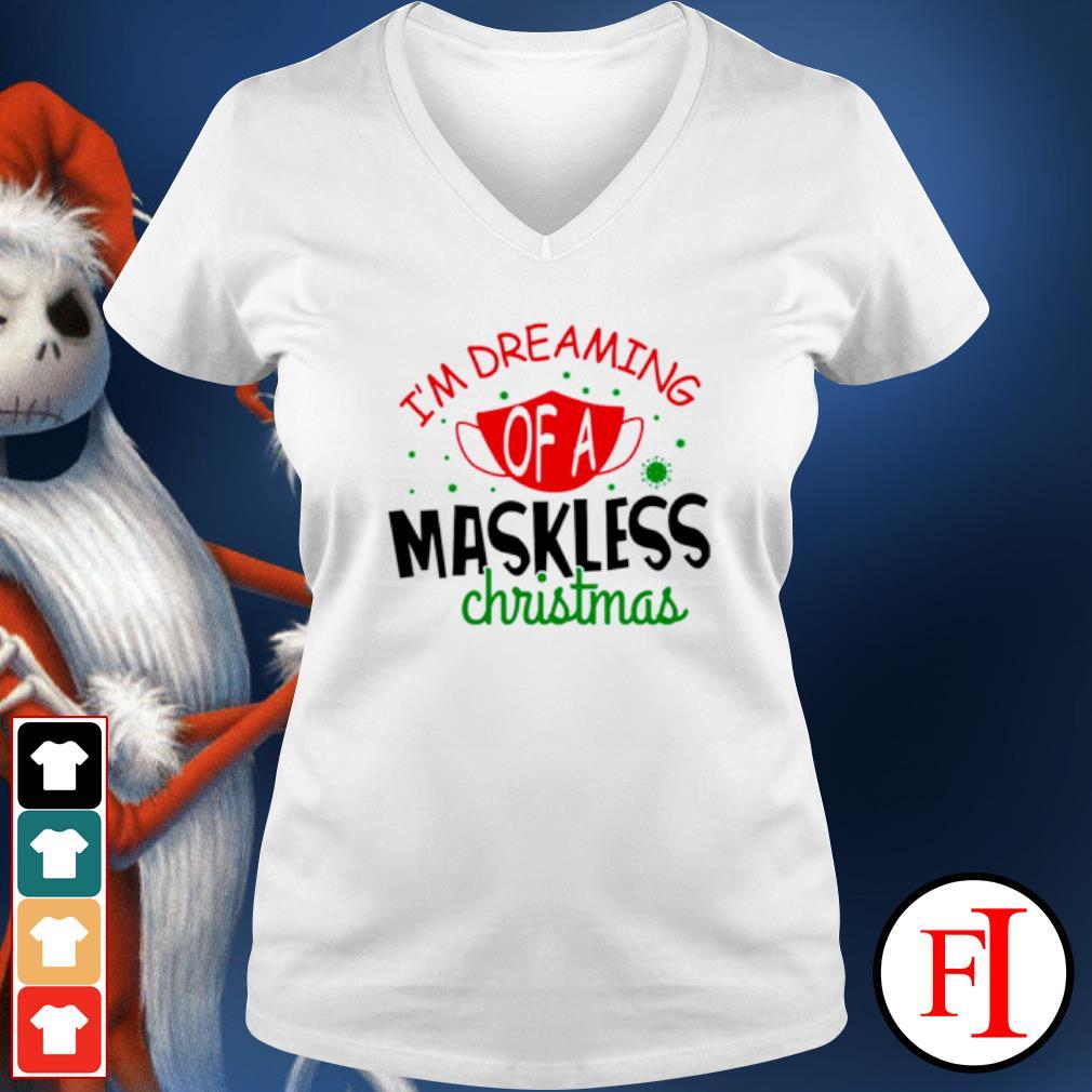 I'm dreaming of a maskless Christmas s v-neck-t-shirt