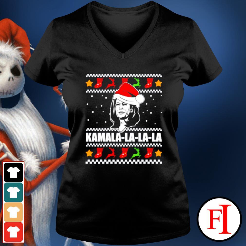 Kamala Harris la la la Christmas ugly s v-neck-t-shirt