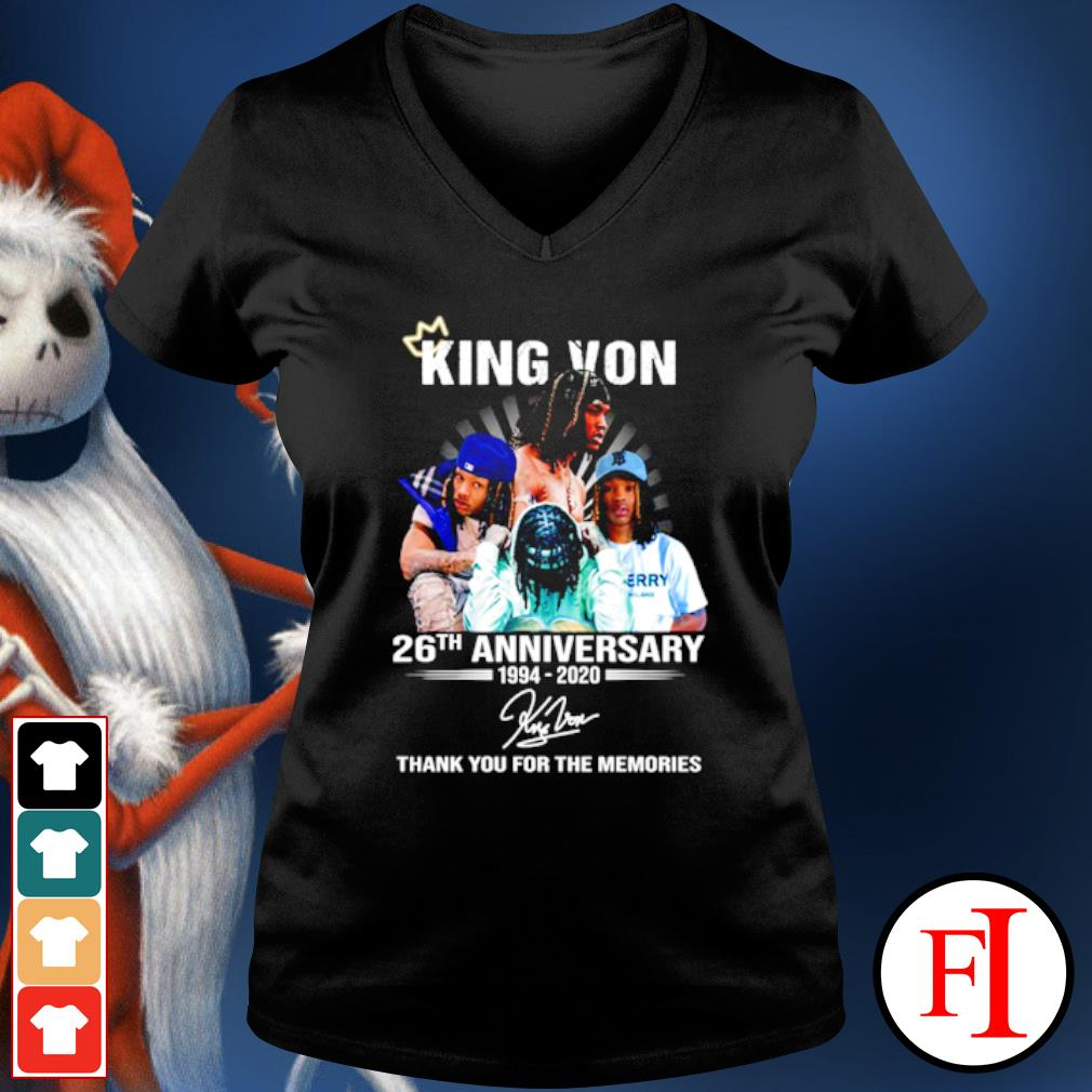 King Von 26th anniversary 1994 2020 thank you for the memories s v-neck-t-shirt