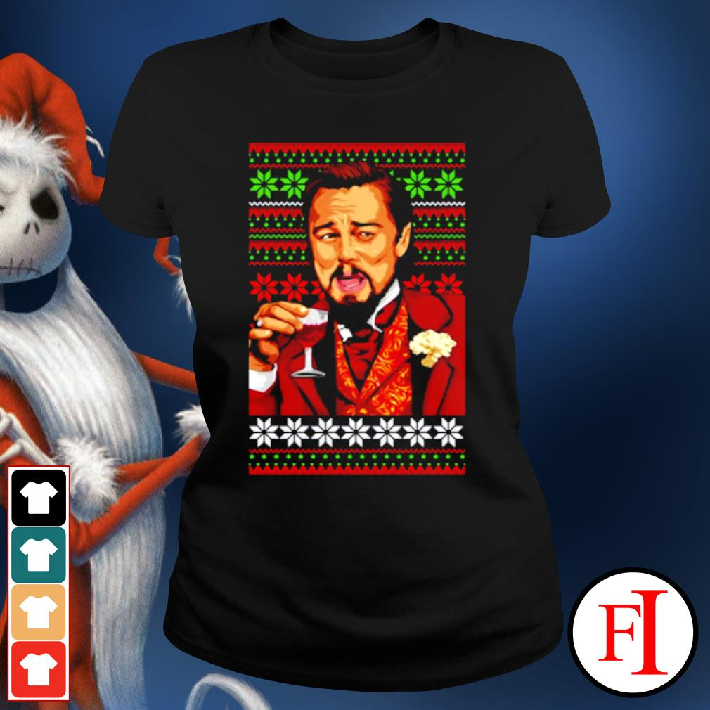 Leonardo Dicaprio laughing Christmas ugly s ladies-tee