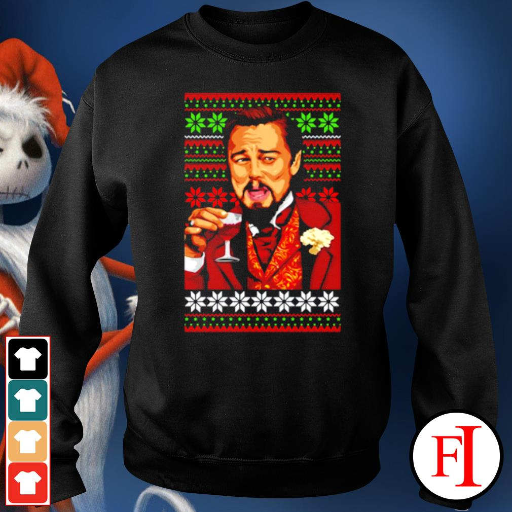 Leonardo Dicaprio laughing Christmas ugly s sweater