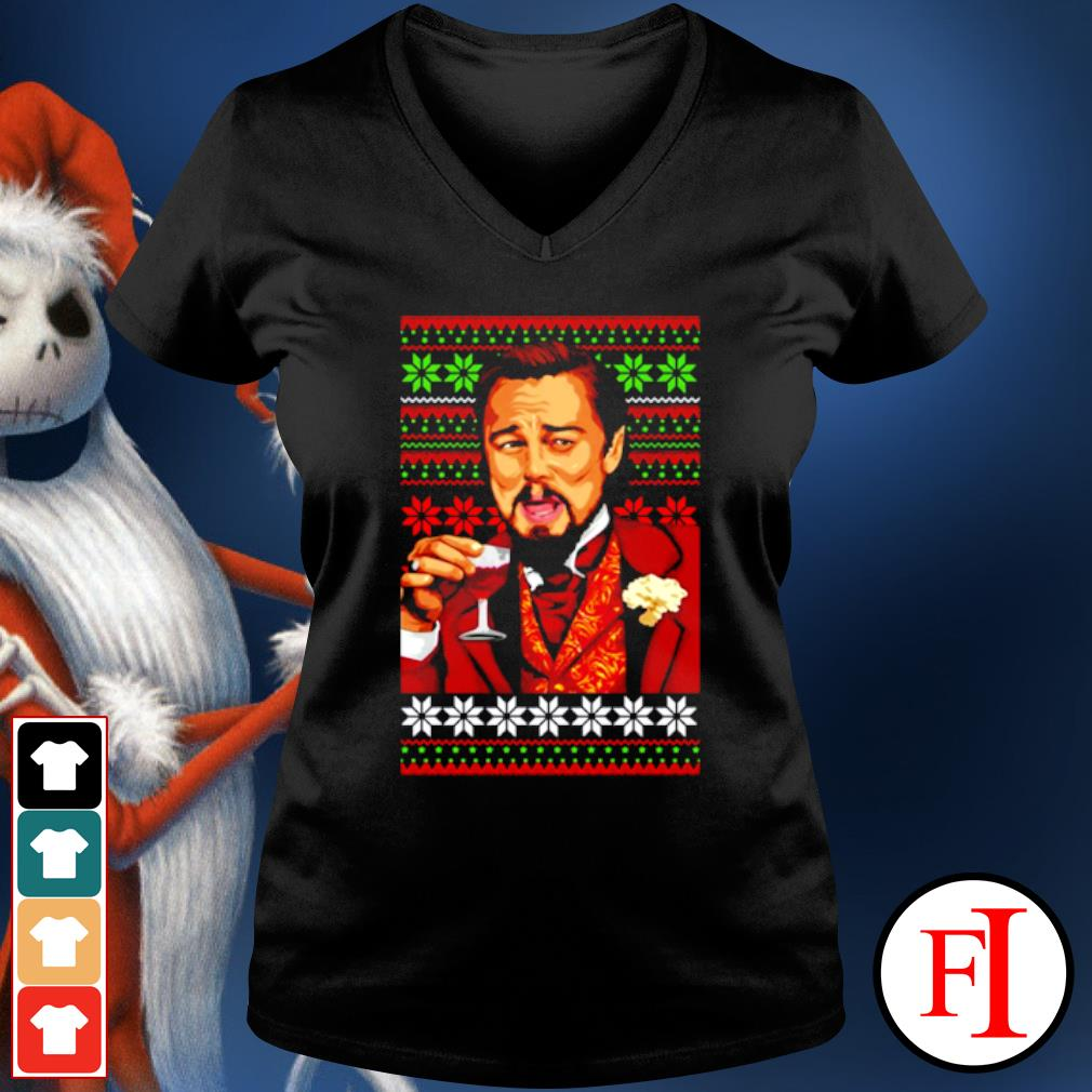 Leonardo Dicaprio laughing Christmas ugly s v-neck-t-shirt