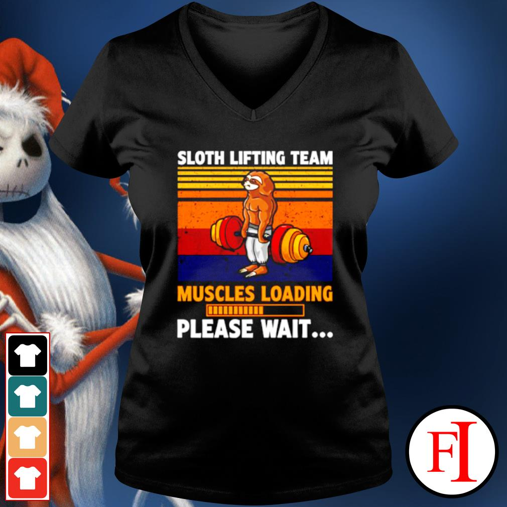Sloth lifting team muscles loading please wait vintage s v-neck-t-shirt