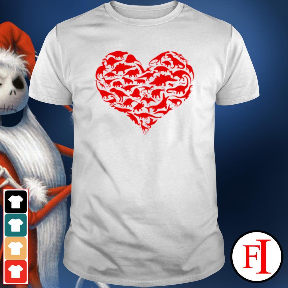 Dinosaur Heart Kids Dino Valentines Day shirt