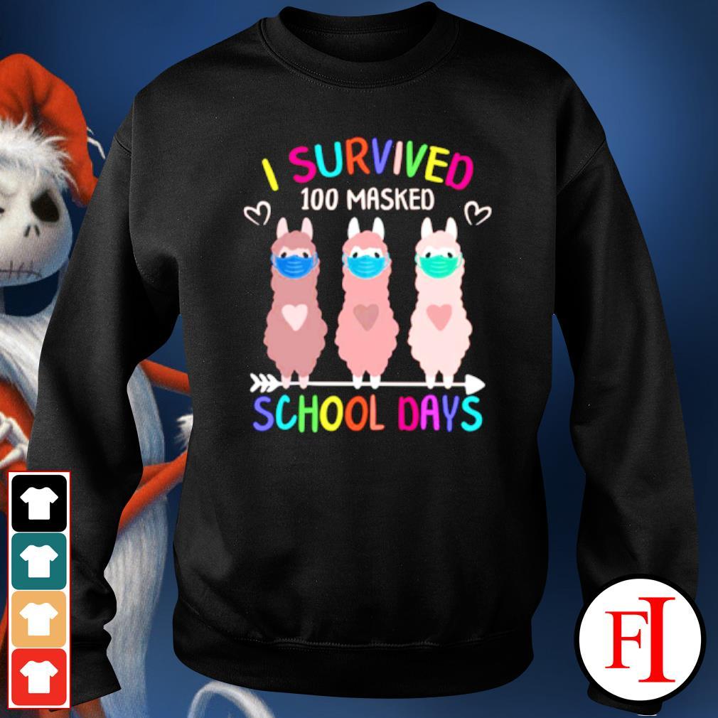 I Survived 100 Masked School Days Llama T-Shirt Gift Funny T Shirts Summer Tops Beach T Shirts